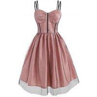 Polka Dot Mesh Overlay Corset Style Dress