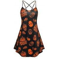 Plus Size Halloween Skull Print Cami Dress