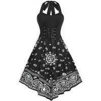 Plus Size Halter Lace Up Skull Paisley Print Backless Dress