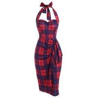 Plaid Halter Backless Ruffle Sheath Dress
