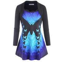 Scalloped Lace Trim Shrug-style Butterfly Plus Size Top