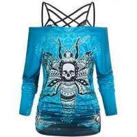 Halloween Skull Butterfly Print Off The Shoulder Tee and Lace Strappy Camisole