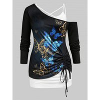 Plus Size Skew Neck Butterfly Print Cinched T-shirt and Camisole Set