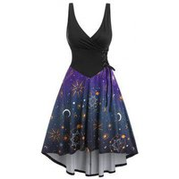 Sun Moon Print Corset High Low Dress