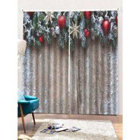 2PCS Christmas Wooden Star Printed Window Curtains