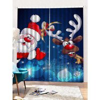 2 Panels Christmas Santa Elk Print Window Curtains