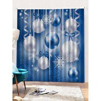 2PCS Christmas Snowflake Ball Pattern Window Curtains