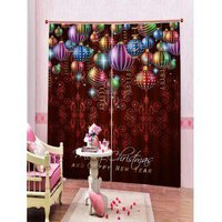 2 Panels Christmas Colorful Balls Print Window Curtains