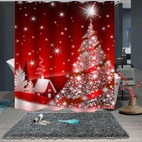180 x 180cm Christmas Print Pattern Waterproof Breathable Bathroom Partition Shower Curtain