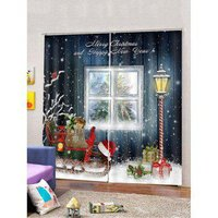 2PCS Christmas Sleigh Printed Window Curtains