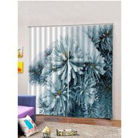 2PCS Christmas Theme Window Curtains