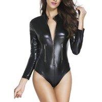 3259 Black Leather Long Sleeve Zip Detail Bodysuit