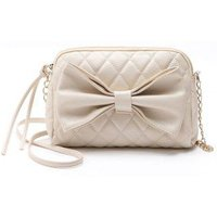 Chain Sweet Women Crossbody Bags Sweet Lady Big Bow Handbag Shoulder Bags, Beige