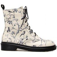 Flower Bird Print Lace Up Boots