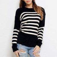 2018 Autumn Winter Knitting Sweater Women O-Neck Long Sleeve Striped Sweater