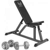 Gyronetics Fitnessbank Incl. 30 kg Dumbelllset Gripper Gietijzer