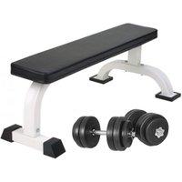 Vlakke Fitnessbank Incl. Dumbellset 30 kg Kunststof