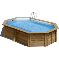 Gre Holzpool Cannelle 551 x 351 Oval + Zubehör-Set, 119 cm hoch