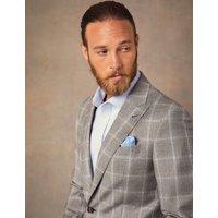 Anzugsakko - Tailored Fit - Braun & blau kariert - 100S Wolle - 2-Knopf Einreiher - Gefüttert - Seitenschlitze