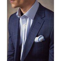 Anzugsakko - Extra Slim Fit - End-on-End blau kariert - 100s Wolle - 2-Knopf Einreiher - Gefüttert - Seitenschlitze