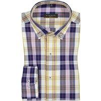 Kariertes Hemd mit Button-Down-Kragen, Slim Fit von Eterna in Gelb für Herren