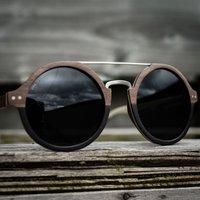 Round Wood Sunglasses With Metal Bridge