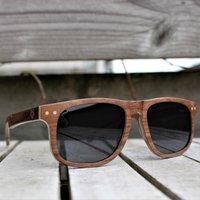 Paul Ven Fox Walnut Wood Flat Top Style Wooden Sunglasses - SG56 image