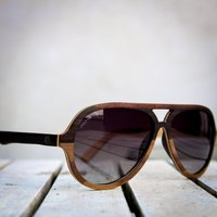Wooden Aviator Style Sunglasses | Made By Paul Ven | Ebony & Walnut Wood Engraved - SG46 image