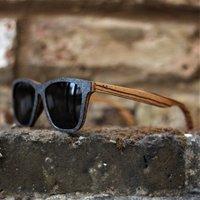 Stone & Zebra Wood Sunglasses. Polarized Wood Sunglasses, Wayfarer Sunglasses - SG21 image