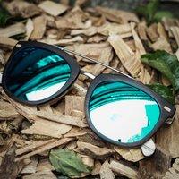 Ebony Wood Square Wooden Sunglasses - SG15 image