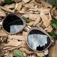 Walnut Wood Square Wooden Sunglasses - SG14 image