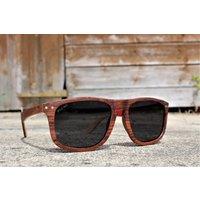 Paul Ven Fox Rose Wood Flat Top Style Wooden Sunglasses - SG49 image