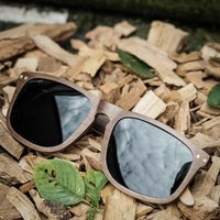 Paul Ven Walnut Wood Flat Top Sunglasses