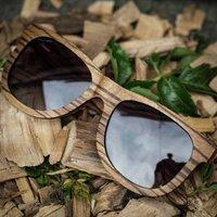 Wayfarer Wood Sunglasses | Zebra - SG37 image