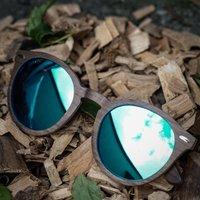 Wooden Round Sunglasses | Walnut Wood Sunglasses - SG41 image