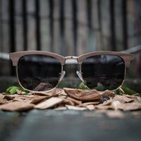 Walnut Wooden Clubmaster Style Sunglasses With Black Lenses - SG52 image