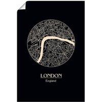 Artland Wandbild »Retro Karte London England Kreis«, Großbritannien (1 Stück), in vielen Größen & Produktarten - Alubild / Outdoorbild für den Außenbereich, Leinwandbild, Poster, Wandaufkleber / Wandtattoo auch für Badezimmer geeignet