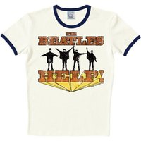 LOGOSHIRT T-Shirt mit farblich abgesetzten Bündchen »The Beatles«