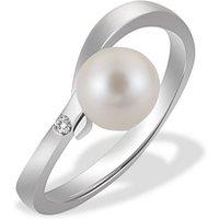 goldmaid Damen-Ring Süsswasserperle 375 Weissgold 1 Brillant 0,03 ct.