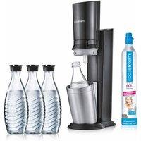 SodaStream Wassersprudler CRYSTAL 2.0 titan , Set, 5-tlg., 1 Wassersprudler, 3 Glaskaraffe, 1 Zylinder