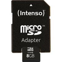 Intenso »microSDHC Class 10 + SD-Adapter« Speicherkarte (8 GB, 20 MB/s Lesegeschwindigkeit)