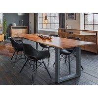 KAWOLA Essgruppe 5-teilig mit Tisch Baumkante und 4x Stuhl ZAJA »Kunstleder schwarz«