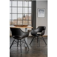 KAWOLA Essgruppe 9-teilig mit Tisch Baumkante u. 8x Stuhl »ZAJA Kunstleder schwarz«