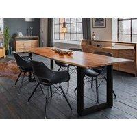 KAWOLA Essgruppe 5-teilig mit Tisch Baumkante Nussbaum u. 4x Stuhl »ZAJA Kunstleder schwarz«