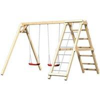 Doppelschaukel aus Holz mit Klettermöglichkeit