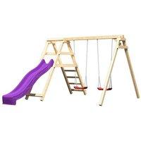 Holz Doppelschaukel mit Leiter & Rutsche auf garten-schaukeln.de ansehen