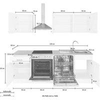 wiho Küchen Küchenzeile »Husum«, mit E-Geräten, Breite 220 cm
