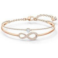 Armreif »Unendlichkeitsschleife, Infinity, weiss, Rosé vergoldet, 5518871«, mit ® Kristallen