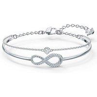 Armreif »Unendlichkeitsschleife, Infinity, weiss, rhodiniert, 5520584«, mit ® Kristallen
