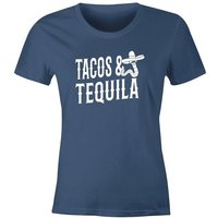 MoonWorks Print-Shirt »Damen T-Shirt Tacos & Tequila Wurm Sombrero Tequilla Mexikanisch Party-Shirt Moonworks®« mit Print